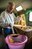 Pszczelarka oddziela wosk od honeycomb ramy Zdjęcia Royalty Free