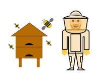 Pszczelarka w jego kostiumu z miodu pudełkiem Fotografia Stock