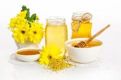 Pszczelarki ` s wciąż życie z żółtymi kwiatami Zdjęcia Stock