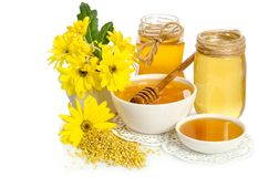 Pszczelarki ` s wciąż życie z żółtymi kwiatami Zdjęcie Royalty Free