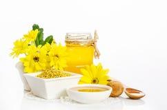 Pszczelarki ` s wciąż życie z żółtymi kwiatami Obrazy Royalty Free