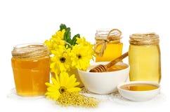 Pszczelarki ` s wciąż życie z żółtymi kwiatami Fotografia Stock