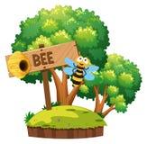 Pszczoła lata wokoło w ogródzie ilustracji