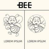 Pszczoła loga projekta pojęcie Kreskowego stylu pszczoła Zdjęcia Stock