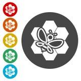 Pszczoła na honeycomb ikonach ustawiać ilustracja wektor