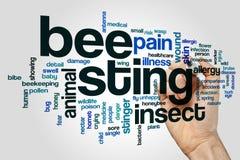 Pszczoły żądła słowa chmury pojęcie na popielatym tle zdjęcia stock