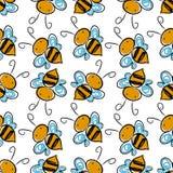 Pszczoły bezszwowy deseniowy tło wektor Zdjęcie Royalty Free