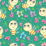 Pszczoły Bezszwowy Pattern_eps ilustracji