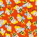 pszczoły chłopiec kreskówki wzór bezszwowy Obraz Stock