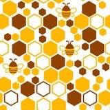 pszczoły honeycomb wzór bezszwowy również zwrócić corel ilustracji wektora ilustracji