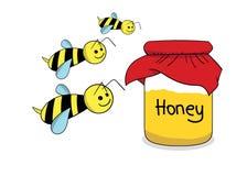 Pszczoły i miód w słoju Fotografia Royalty Free