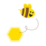 pszczoły latającego miodu odosobniony mały biel royalty ilustracja
