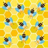 Pszczoły z honeycomb ilustracji