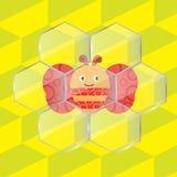 Pszczoła w szklanych honeycombs royalty ilustracja
