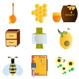 Pszczoły ikony set Obrazy Royalty Free