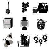 Pszczoły ikony set Obrazy Stock