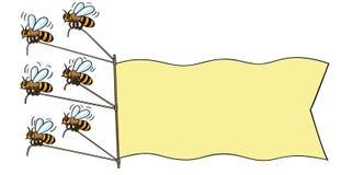 Pszczoły z sztandarem. Obrazy Stock