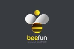 Pszczoła loga projekta wektor Rój ikona Kreatywnie charakteru logotyp Obraz Royalty Free