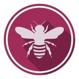 Pszczoły ikona z długim cieniem Fotografia Royalty Free