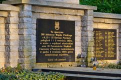 Monument to the victims of the war in Pszczyna, Poland. PSZCZYNA, POLAND - APRIL 22, 2018: Monument to the memory of 205 soldiers of the Polish army in Pszczyna Stock Photo