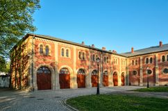 Historic building in Pszczyna, Poland. PSZCZYNA, POLAND - APRIL 22, 2018: Prince`s Stables in the castle museum in Pszczyna, Poland Stock Photography