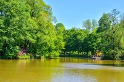 Public park in Pszczyna, Poland. PSZCZYNA, POLAND - MAY 13, 2018: Beautiful colorful castle park in Pszczyna, Poland stock photography