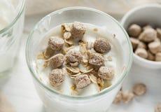 Pszenicznego otręby i owsa płatki w szkle z jogurtem zdjęcia royalty free