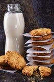 Pszeniczni ciastka i mleko Obraz Stock