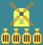 Pszeniczni ucho lub ryżowa ikona Uprawa symbol Zdjęcie Royalty Free