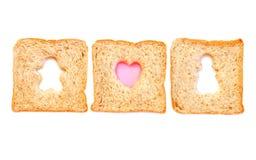 Pszeniczny Chlebowy Plasterek z chłopiec i gril Zdjęcia Royalty Free