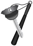 Pt-Key in the police cap form with keychain as baton Stock Photography