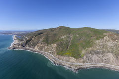 Pt Mugu and Pacific Coast Highway Aerial in Ventura County. Aerial view of Point Mugu and Pacific Coast Highway in Ventura County, California Stock Photo