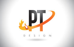 PT P T Letter Logo with Fire Flames Design and Orange Swoosh. PT P T Letter Logo Design with Fire Flames and Orange Swoosh Vector Illustration Stock Photos