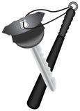PT-sleutel in de politieglb vorm met keychain als knuppel Stock Fotografie