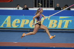 Ptacnikova Jirina - czech pole vaulter. Wins first place with Nation Rekord 4.70 on Samsung Pole Vault Stars meeting on February 11, 2012 in Donetsk, Ukraine Royalty Free Stock Photos