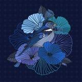 ptaków abstrakcjonistyczni kwiaty Obrazy Royalty Free