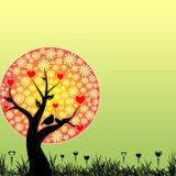 ptaków kwiatów serc miłości czerwony drzewny kolor żółty Zdjęcia Stock