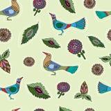 ptaków kwiatów wzór bezszwowy royalty ilustracja