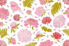 ptaków kwiatów wzór bezszwowy Peonia, chryzantema, koniczyna, tulipan, paproć ilustracja wektor