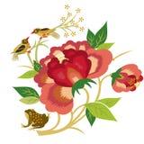 ptaków kwiaty ilustracja wektor