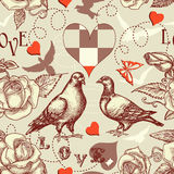 ptaków miłości wzór bezszwowy royalty ilustracja