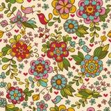 ptaków niekończący się kwiecistego kwiatów wzoru bezszwowa tekstura Obraz Stock