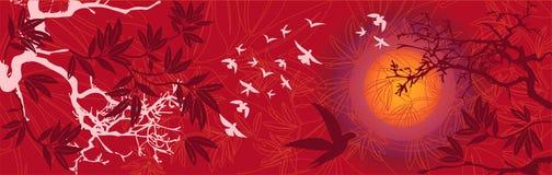 ptaków wschodni krajobrazowi zmierzchu drzewa ilustracja wektor