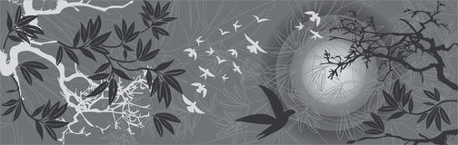 ptaków wschodni krajobrazowi zmierzchu drzewa royalty ilustracja