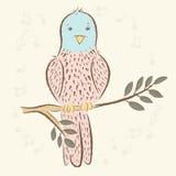 Ptak śpiewający, notatki ptaszki ładne ręka rysująca, kreskówka styl Fotografia Royalty Free