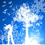 ptak dziewczyny płatki śniegu tree Fotografia Stock
