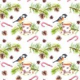 Ptak, herbaciana filiżanka, sosny gałąź deseniowy target101_0_ akwarela Zdjęcie Stock