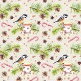 Ptak, herbaciana filiżanka, sosny gałąź deseniowy target101_0_ akwarela Zdjęcia Royalty Free