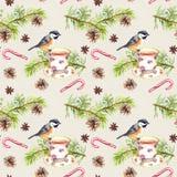 Ptak, herbaciana filiżanka, sosny gałąź deseniowy target101_0_ akwarela Obraz Stock