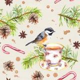 Ptak, herbaciana filiżanka, sosny gałąź deseniowy target101_0_ akwarela Obraz Royalty Free